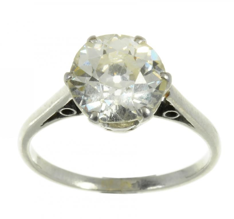 A DIAMOND SOLITAIRE RING  the modified brilliant cut diamond weighing 3.5ct approx Image