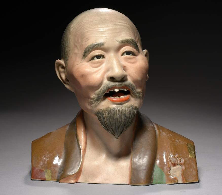 A CHINESE PORCELAIN BUST OF A MAN Image