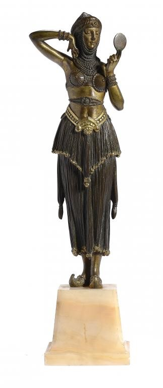 DEMETRE CHIPARUS.  AN ART DECO GILT AND PATINATED BRONZE FIGURE OF WOMAN WITH MIRROR Image
