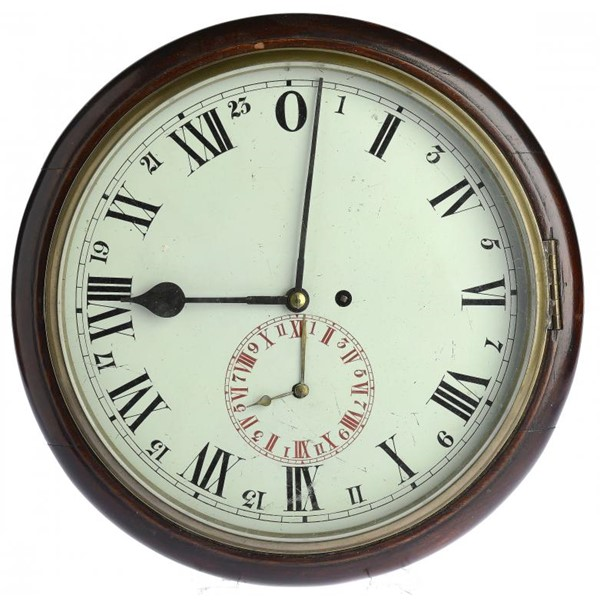 A VICTORIAN MAHOGANY WALL COCK WITH TWENTY FOUR HOUR DIAL Image