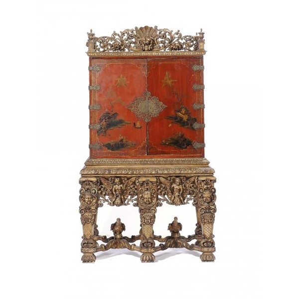 A WILLIAM III SCARLET JAPANNED CABINET ON STAND Image