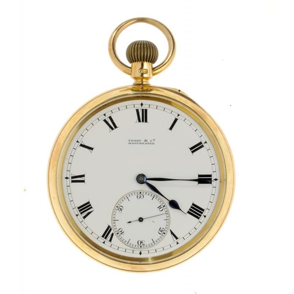 A FINE ENGLISH 18CT GOLD KARRUSEL WATCH Image