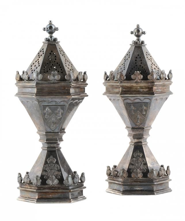 A PAIR OF VICTORIAN SILVER SALT CASTERS COMMISSIONED BY THE SALTERS' COMPANY IN COMMEMORATION OF THE Image