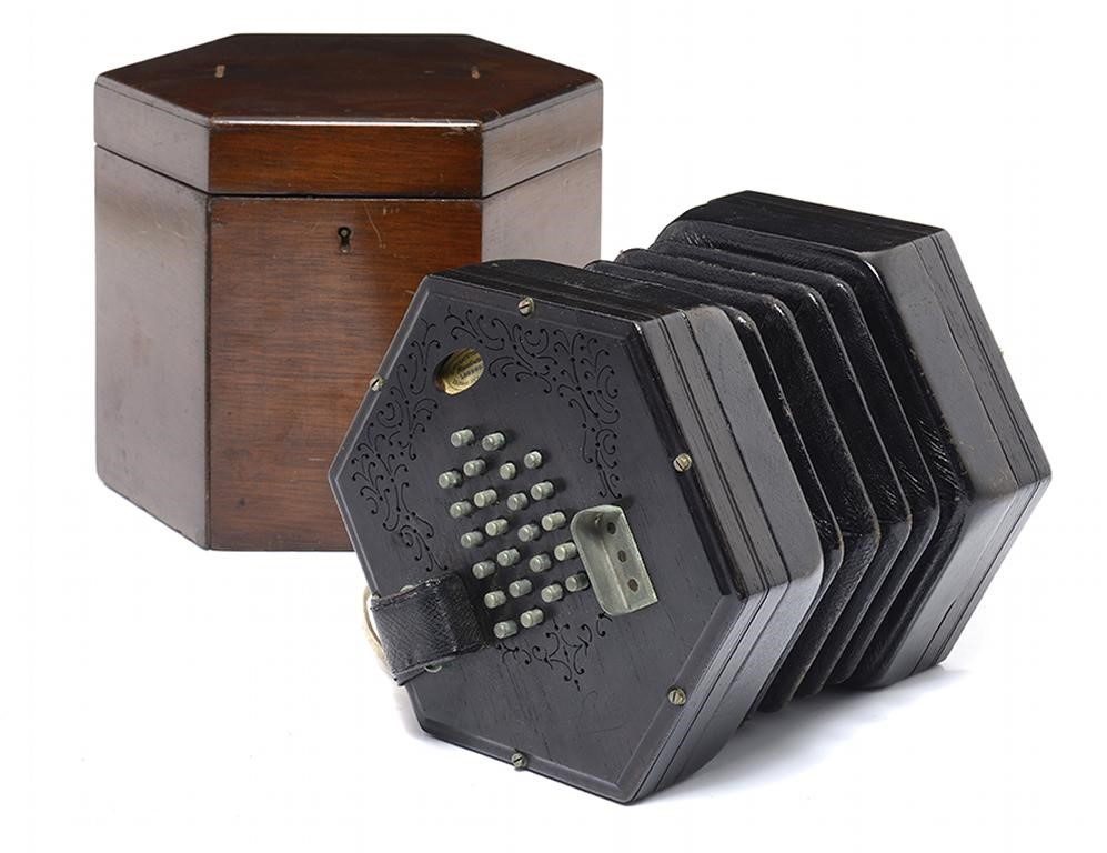 A VICTORIAN EBONY AEOLA CONCERTINA BY C WHEATSTONE & CO Image