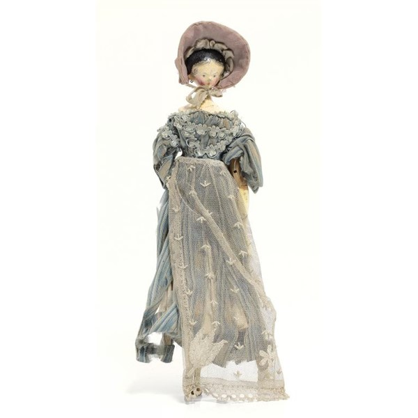 AN ATTRACTIVE PAINTED WOOD PEG DOLL Image