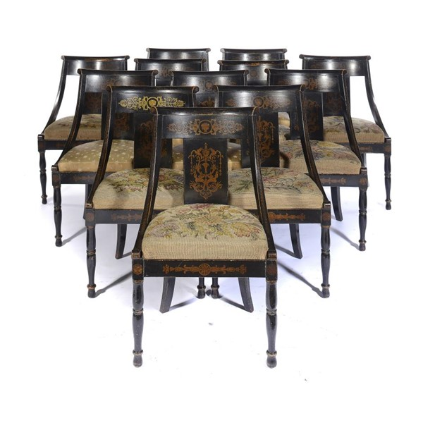 A SET OF TWELVE REGENCY BLACK AND GILT JAPANNED  CHAIRS Image