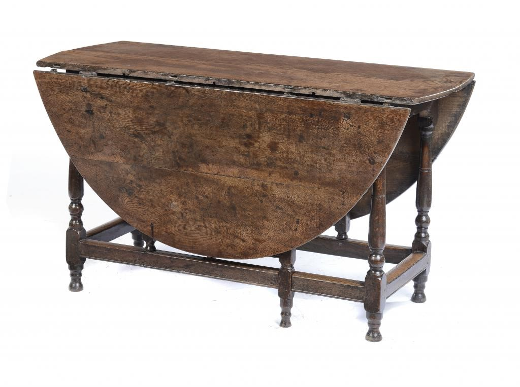 A WILLIAM III OAK DROP LEAF TABLE Image