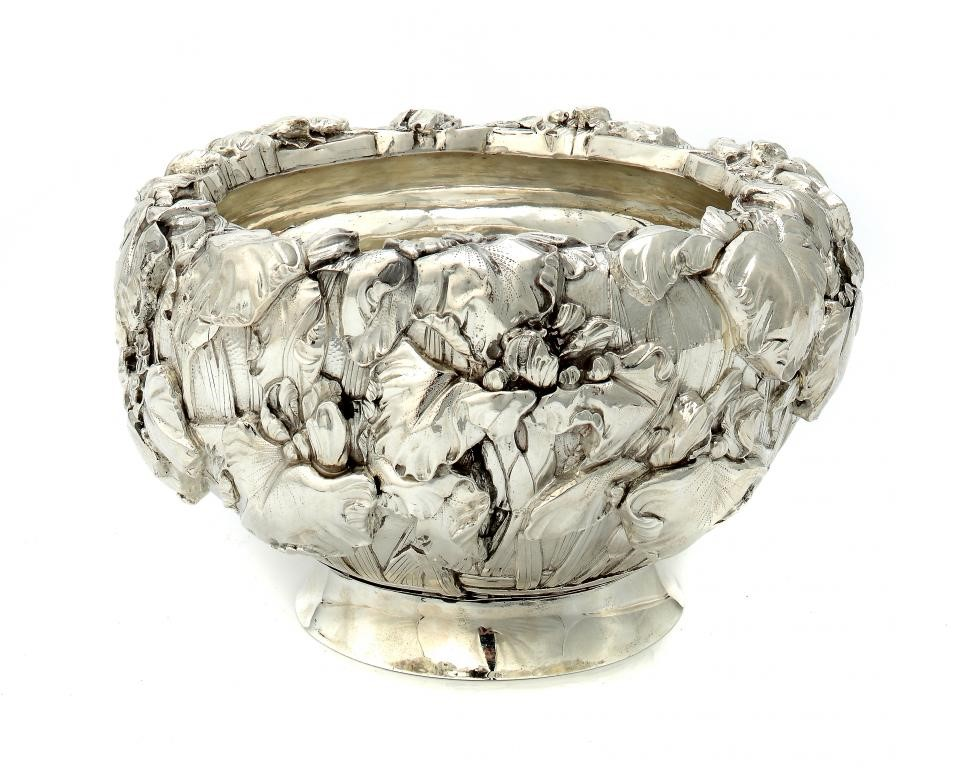 A JAPANESE SILVER OVOID BOWL  chased in high relief with irises Image