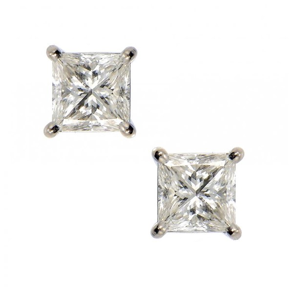 A PAIR OF DIAMOND EAR STUDS  with princess cut diamond Image