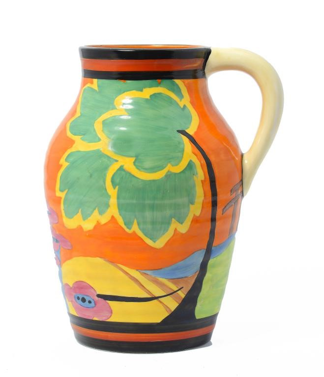 CLARICE CLIFF. AN A J WILKINSON APPLIQUÉ MONSOON LOTUS JUG Image
