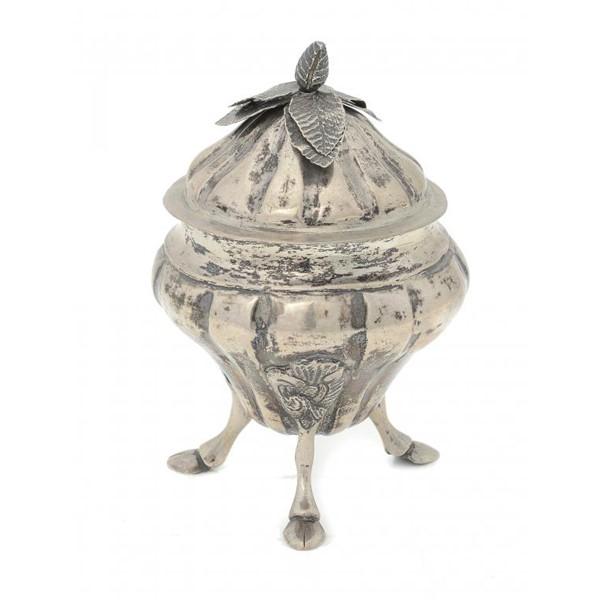 A MALTESE SILVER  SUGAR BOWL AND COVER on three hoof feet Image