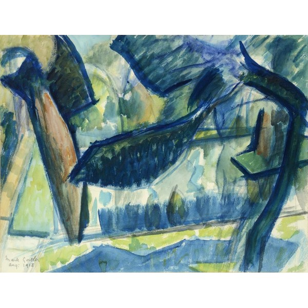 MARK GERTLER (1892-1939) THE POND GARSINGTON  signed and dated Aug:1918  watercolour Image