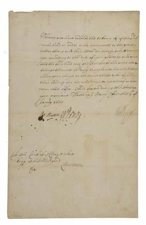 SAMUEL PEPYS  (1633-1703)AUTOGRAPH WARRANT SIGNED BY PEPYS SIR WILLIAM PENN [FATHER OF THE FOUNDER O Image