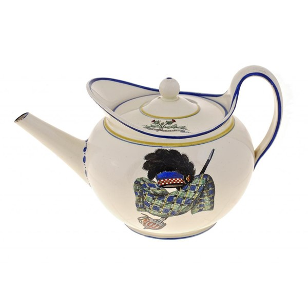 A RARE WEDGWOOD QUEENSWARE TEAPOT AND COVER FROM THE 'GORDON HIGHLANDERS' SERVICE Image