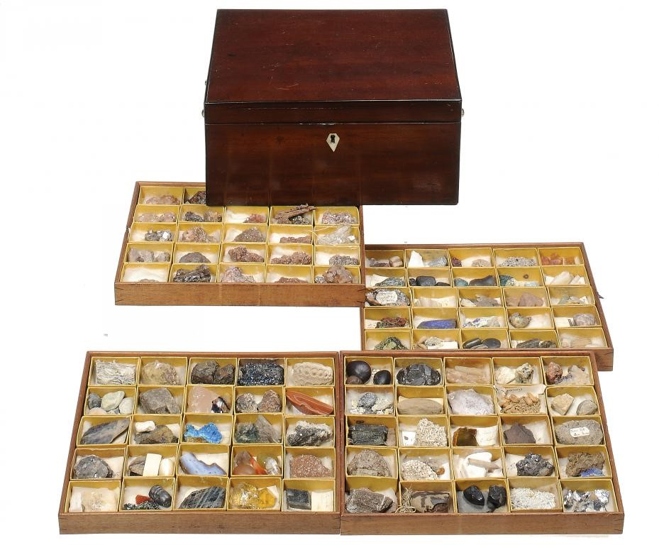 A VICTORIAN MINERAL COLLECTION IN FITTED MAHOGANY BOX Image
