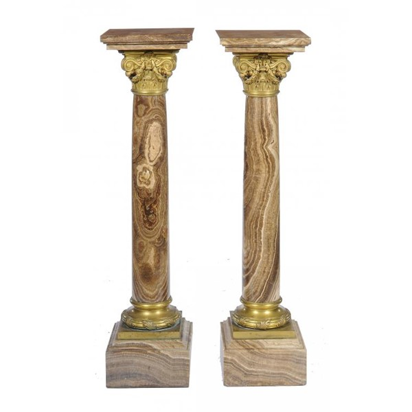 A PAIR OF FRENCH  ALABSTRO FIORITO AND GILT BRONZE TORCHÈRES Image