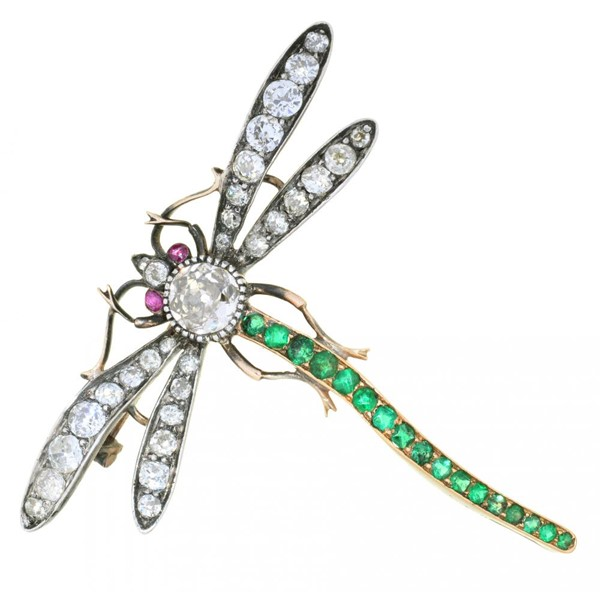 AN EDWARD VII DIAMOND AND EMERALD DRAGONFLY BROOCH Image