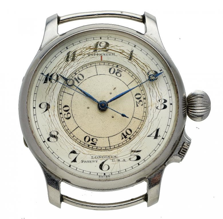 A RARE LONGINES STAINLESS STEEL PILOT'S WRISTWATCH WITH WEEMS SECONDS SETTING SYSTEM Image