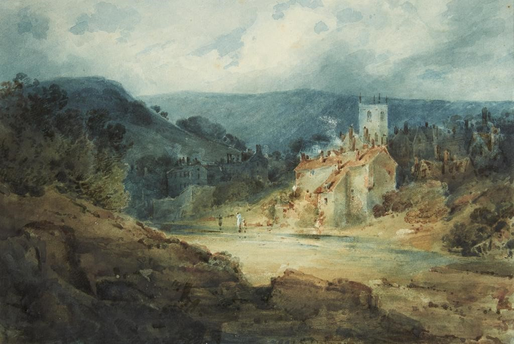 CIRCLE OF JOHN SELL COTMAN (1782-1842) VIEW OF A TOWN IN A PASSING STORM with signature Image