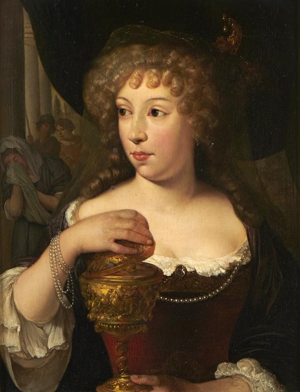 FOLLOWER OF CASPAR NETSCHER A NOBLEWOMAN TRADITIONALLY IDENTIFIED AS HORTENSE MANCINI DUCHESSE DE MA Image