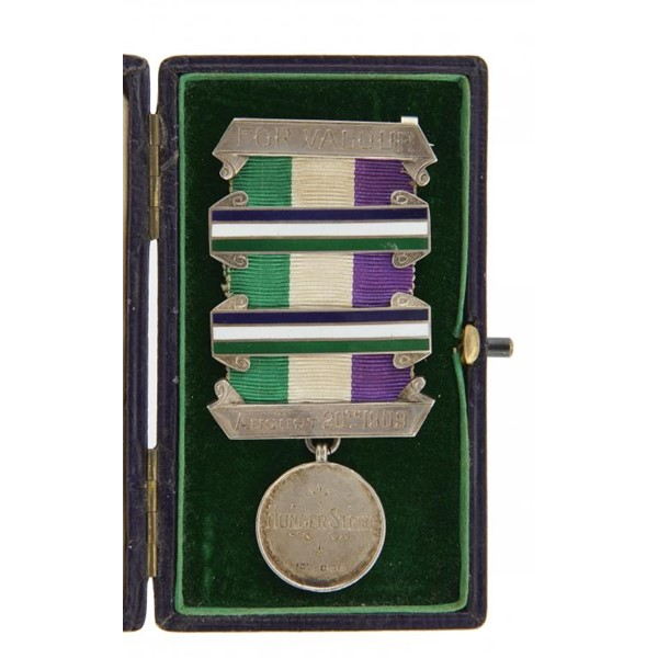 THE HIGHLY IMPORTANT WOMEN'S SOCIAL AND POLITICAL UNION MEDAL FOR VALOUR OF THE SUFFRAGETTE SELINA M Image