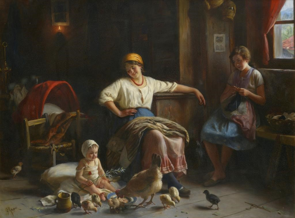 †GIUSEPPE MAGNI (1869-1956) THE YOUNG BROOD signed Image