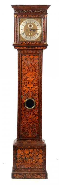 A WALNUT AND MARQUETRY EIGHT DAY LONGCASE CLOCK Image