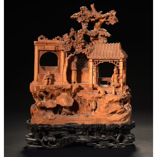 A CHINESE SANDALWOOD CARVING Image