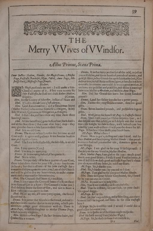[SHAKESPEARE (W) SECOND FOLIO]. THE MERRY WIVES OF WINDSOR [AND] A MIDSOMMER NIGHTS DREAME [1632]    Image