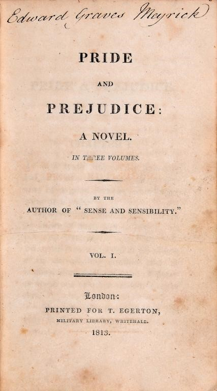 "[AUSTEN (JANE)] PRIDE AND PREJUDICE A NOVEL... BY THE AUTHOR OF ""SENSE AND SENSIBILITY"" Image"