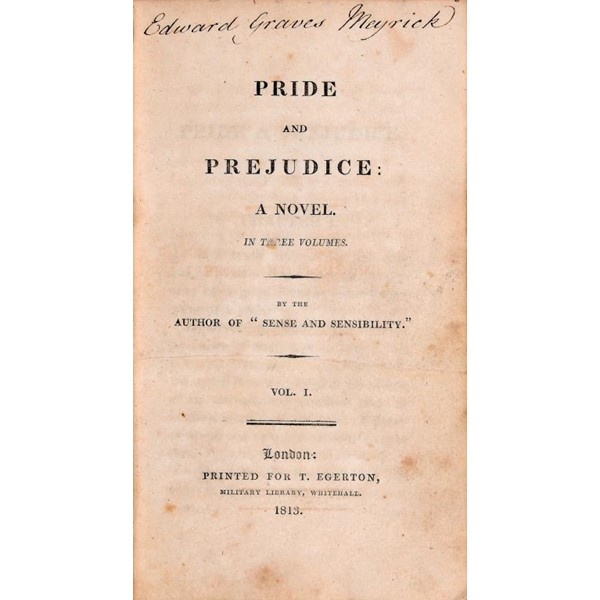 """[AUSTEN (JANE)] PRIDE AND PREJUDICE A NOVEL... BY THE AUTHOR OF """"SENSE AND SENSIBILITY"""" Image"""