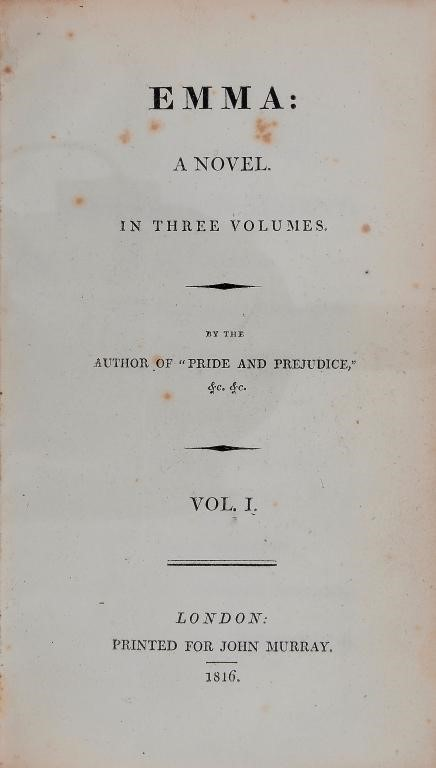 "[AUSTEN (JANE)] EMMA A NOVEL IN THREE VOLUMES BY THE AUTHOR OF ""PRIDE AND PREJUDICE"" ETC ETC Image"
