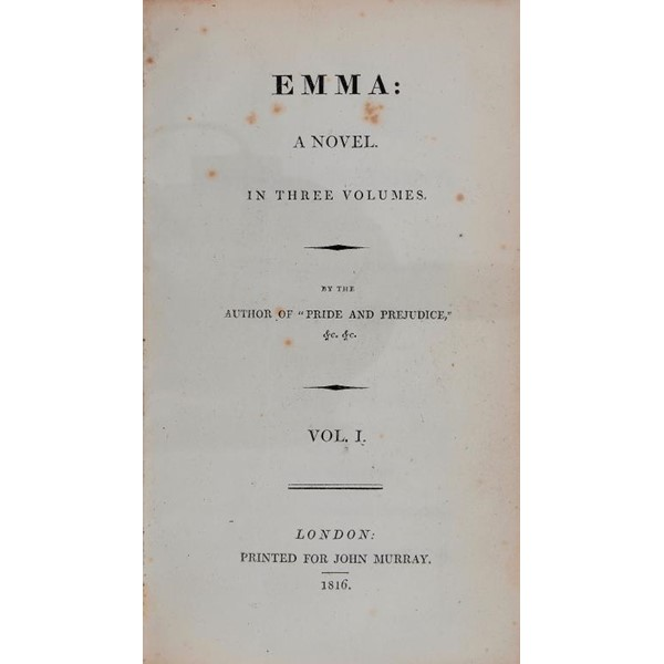 """[AUSTEN (JANE)] EMMA A NOVEL IN THREE VOLUMES BY THE AUTHOR OF """"PRIDE AND PREJUDICE"""" ETC ETC Image"""