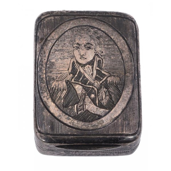 A GEORGE III NELSON COMMEMORATIVE SILVER VINAIGRETTE the lid engraved with a portrait of Lord Nelso Image