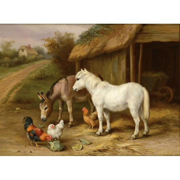 †EDGAR HUNT (1876-1953) FARMYARD FRIENDS  signed and dated 1924 Image
