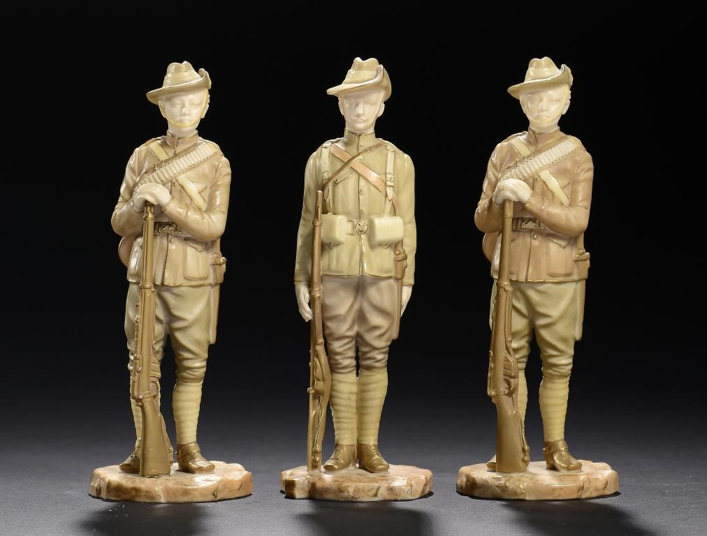 THREE ROYAL WORCESTER FIGURES OF SOLDIERS OF THE BOER WAR - CITY IMPERIAL VOLUNTEER AND IMPERIAL YEO Image
