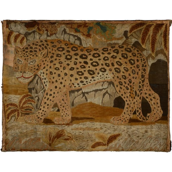 A REGENCY EMBROIDERED PICTURE OF A LEOPARD Image