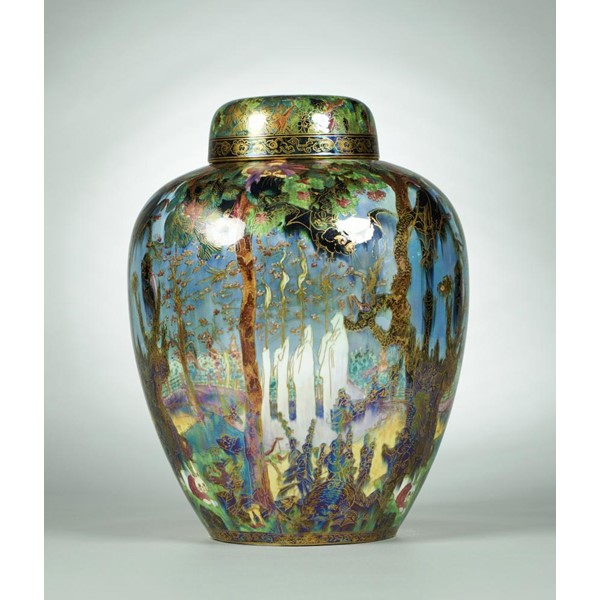A WEDGWOOD FAIRYLAND LUSTRE MALFREY POT AND COVER  DESIGNED BY DAISY MAKEIG-JONES Image