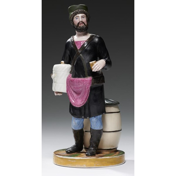 RUSSIAN PORCELAIN.  A GARDNER STREET VENDOR  FIGURE OF A VODKA SELLER Image