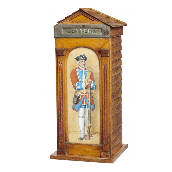 A VICTORIAN OAK HALL POSTING BOX IN THE FORM OF A SENTRY BOX Image