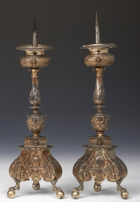 ANTWERP.  A PAIR OF NETHERLANDISH SILVER ARMORIAL ALTAR CANDLESTICKS the leafy baluster with compres Image