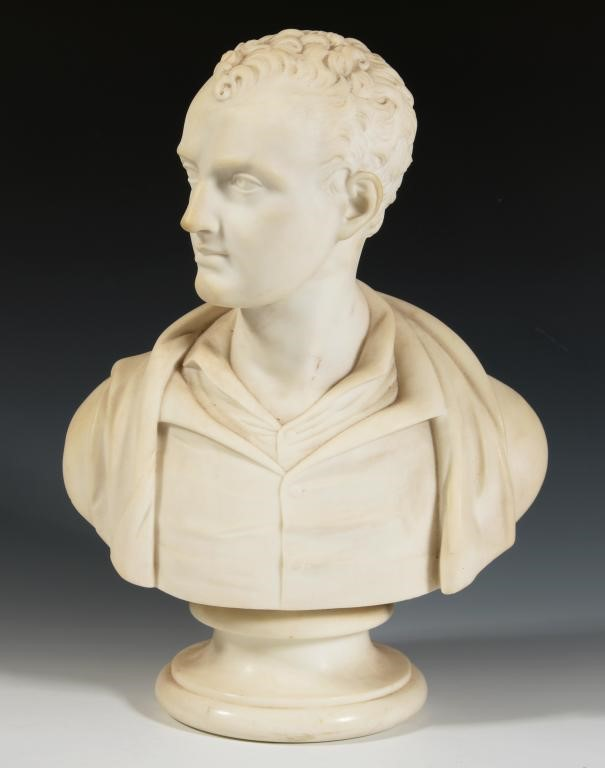 19TH CENTURY SCHOOL BUST OF LORD BYRON  statuary marble on marble socle Image