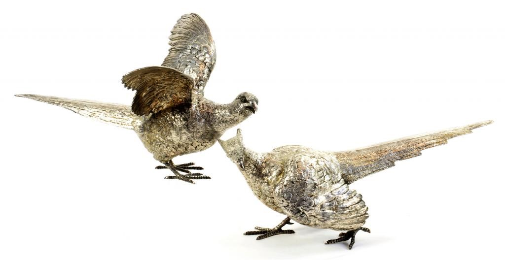 A PAIR OF ELIZABETH II SILVER PHEASANT TABLE ORNAMENTS   31 and 32cm l Image